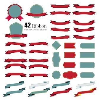 Ensemble de rubans rétro et des étiquettes. illustration vectorielle