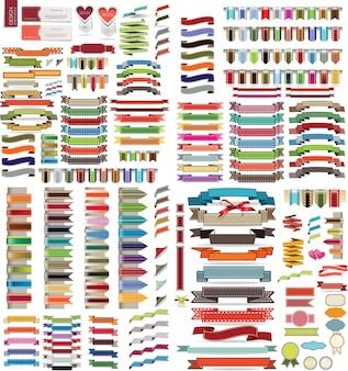 Ensemble de rubans rétro et des étiquettes