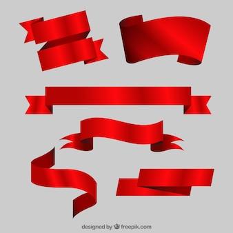 Ensemble de rubans rouges dans le style réaliste