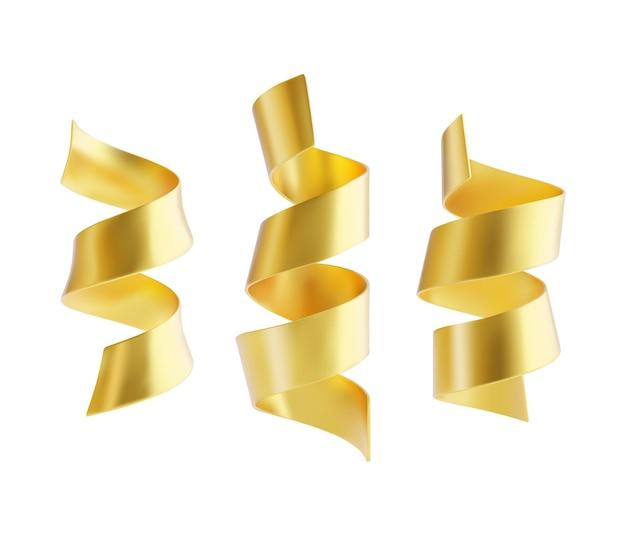 Ensemble de rubans serpantins dorés isolé sur fond blanc