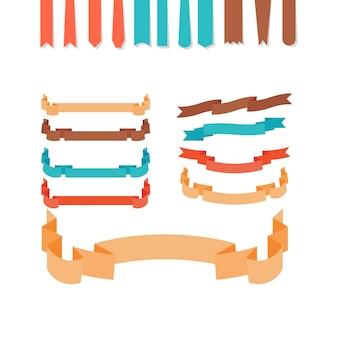Ensemble de rubans de style plat
