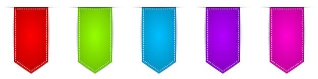 Ensemble de rubans suspendus. bannières vectorielles colorées