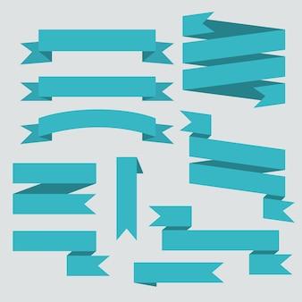 Ensemble de rubans de vecteur bleu isolé