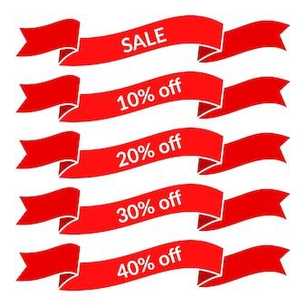Ensemble de rubans de vente rouges avec différentes valeurs de remise. modèle d'étiquette de vente. illustration vectorielle