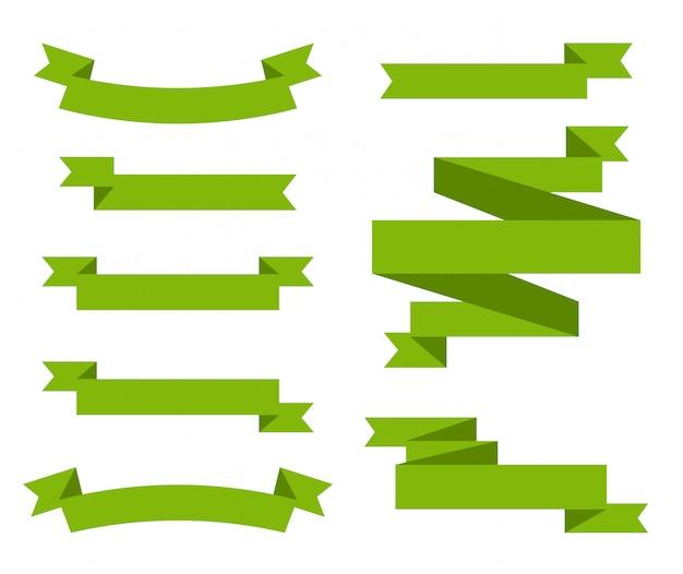 Ensemble de rubans verts.