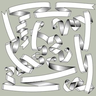 Ensemble de rubans vintage dans le style de dessin de gravure