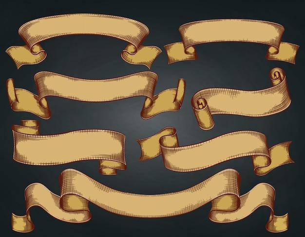 Ensemble de rubans vintage, noyés à la main, rétro sur fond sombre. illustration.