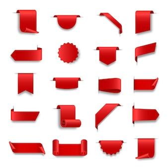 Ensemble de rubans web rouges rubans de défilement enroulés