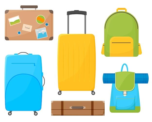 Ensemble de sac à bagages de couleur dessin animé isolé sur fond blanc différents bagages en plastique et en cuir illustration vectorielle plane divers valise de voyage et sac à dos ensemble de valise de voyage