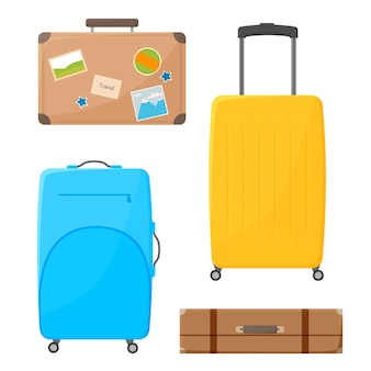 Ensemble de sac à bagages de couleur dessin animé isolé sur fond blanc différents bagages en plastique et en cuir vector illustration plate divers ensemble de valise de voyage valise de voyage