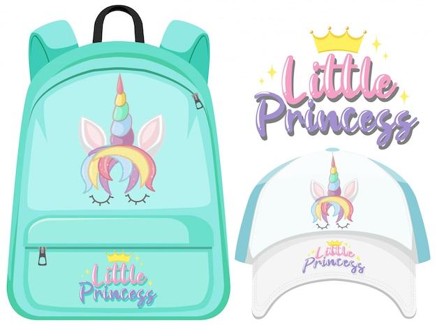 Ensemble de sac à dos et casquette licorne