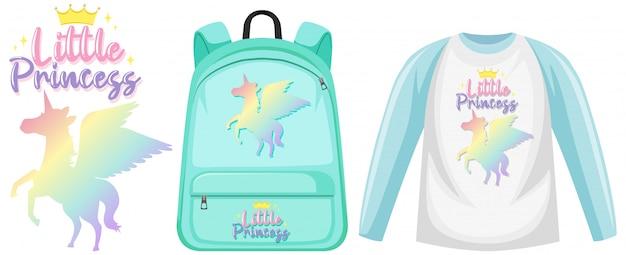 Ensemble de sac à dos et chemise licorne