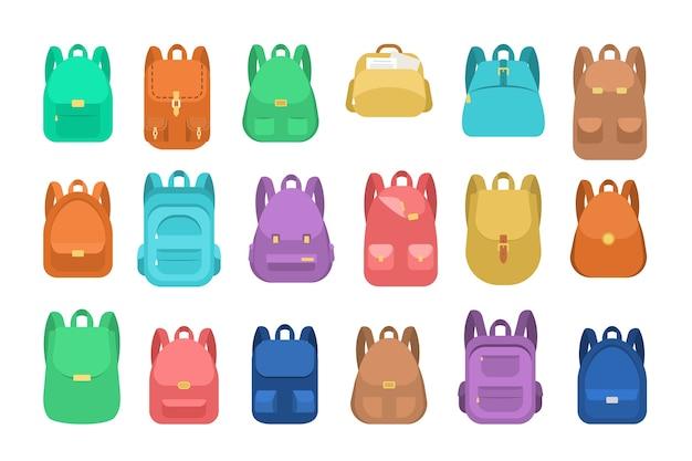 Ensemble de sac d'école. collection de sac à dos et sac à dos