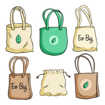 Ensemble de sac écologique illustration avec style coloré dessiné à la main