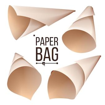 Ensemble de sac en papier à cône