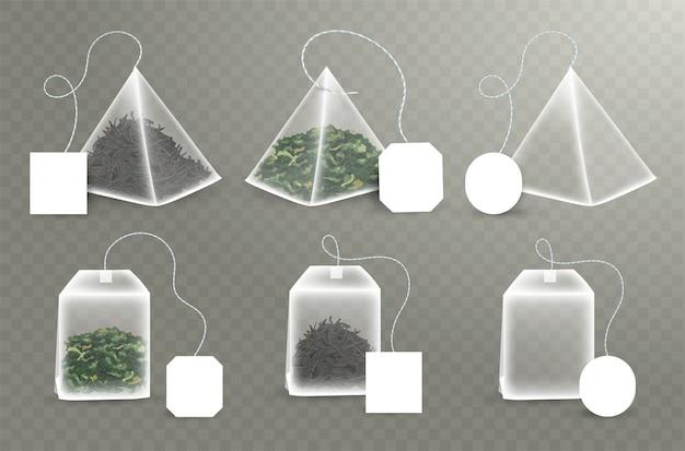 Ensemble de sachets de thé de forme pyramidale et rectangulaire. avec carré vide, étiquettes rectangulaires. thé vert et noir. modèle de sachet de thé réaliste. illustration