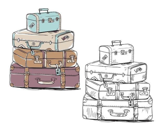 Ensemble de sacs à bagages vintage, dessin au trait vectoriel. dessin au trait et illustrations en couleur.