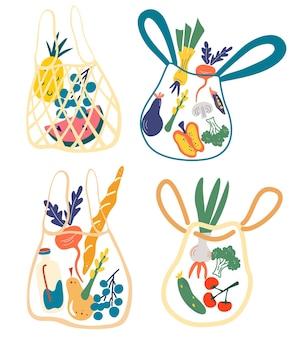 Ensemble de sacs en filet écologiques avec divers produits. des trucs différents du marché local. zéro déchet, concept sans plastique. ensemble de kit écologique, filets et sacs en filet pour faire les courses. illustrations vectorielles.