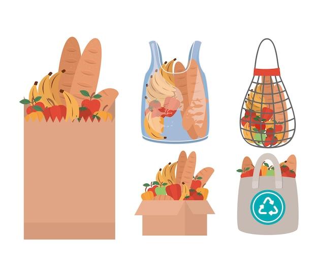 Ensemble de sacs de marché remplis de produits du marché