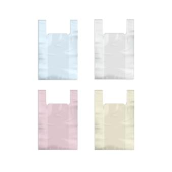 Ensemble de sacs à provisions en plastique jetables vides blanc rose jaune bleu