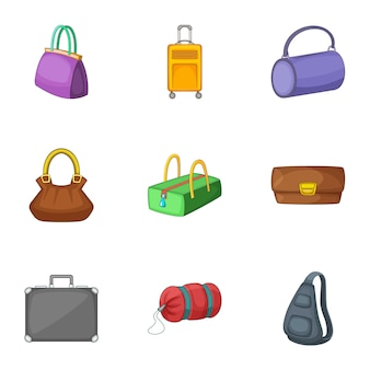 Ensemble de sacs et valises, style cartoon