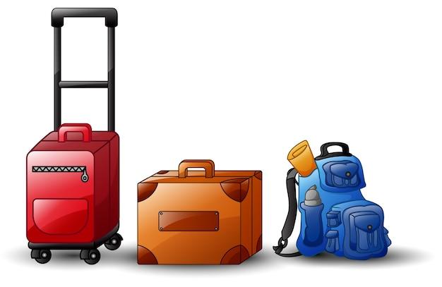 Ensemble de sacs de voyage d'icônes