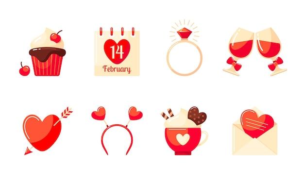Ensemble de la saint-valentin. cupcake, carte de la saint-valentin, verres de vin rouge, serre-tête, bague, calendrier, cacao et coeur