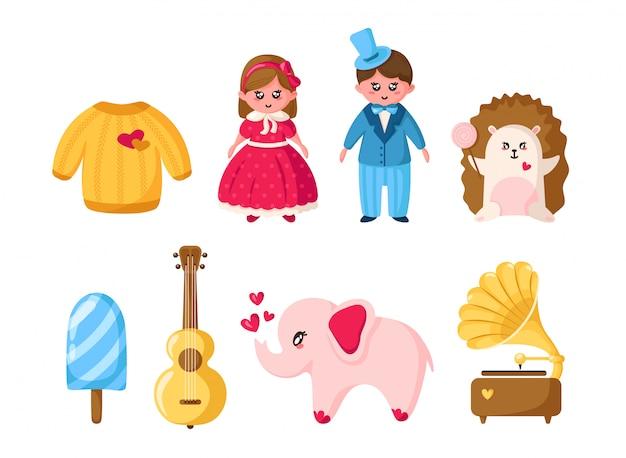 Ensemble de la saint-valentin, dessin animé fille et garçon kawaii, coeur de cristal, enveloppe, tour eiffel