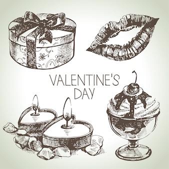Ensemble de la saint-valentin. illustrations dessinées à la main