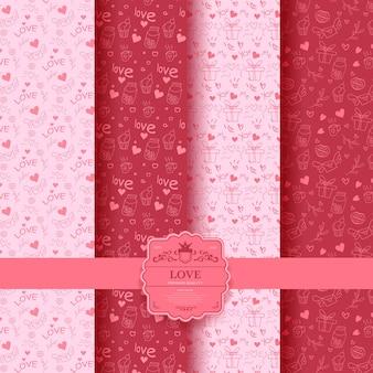 Ensemble de saint valentin, modèle sans couture romantique rose avec des coeurs. collection de papier d'emballage et sacs-cadeaux.
