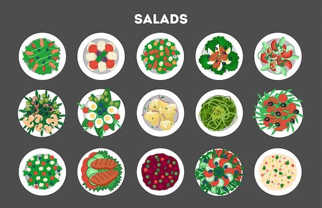 Ensemble de salade biologique fraîche. dîner sain à base de légumes
