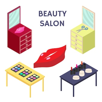 Ensemble de salon de beauté créatif isométrique 3d plat