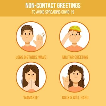 Ensemble de salutations sans contact