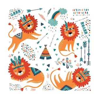 Ensemble sans couture de lions tribaux mignons. impression enfantine mignonne. lions de dessin animé.