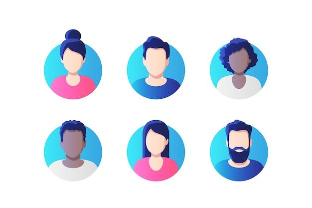 Ensemble sans visage de photo de profil d'avatar.