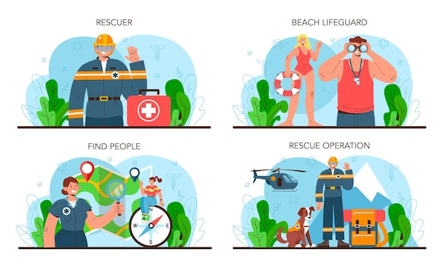Ensemble de sauveteur. aide d'urgence, sauveteur d'ambulance en uniforme aidant