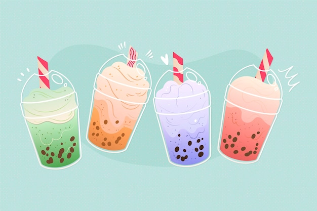 Ensemble de saveurs de thé à bulles dessinés à la main