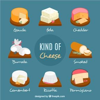Ensemble de savoureux fromages