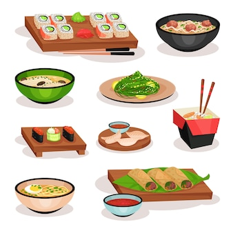 Ensemble de savoureux plats asiatiques. sushi, soupes, rouleaux de printemps, boulettes bouillies et nouilles. plats orientaux