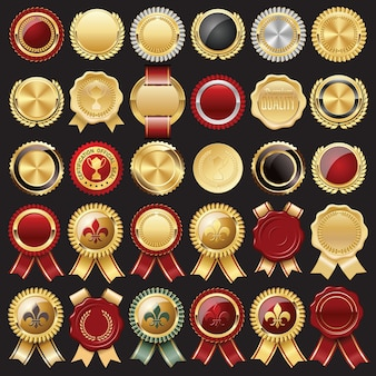 Ensemble de sceau de cire de certificat et badges