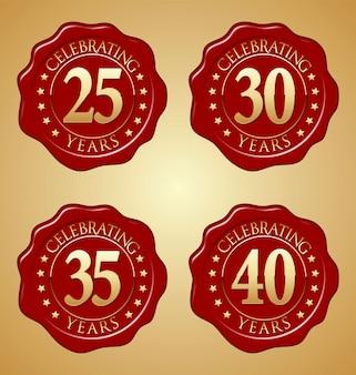 Ensemble de sceau de cire rouge anniversaire