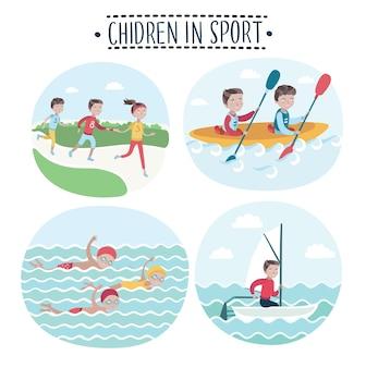 Ensemble de scène d & # 39; illustrations d & # 39; enfants font du sport