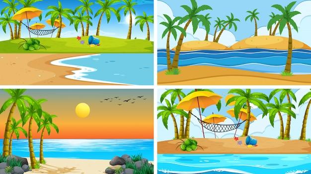 Ensemble de scène nature océan tropical ou arrière-plans avec plages