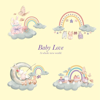 Ensemble de scènes d'amour de bébé, style aquarelle