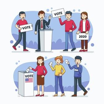 Ensemble de scènes de campagne électorale
