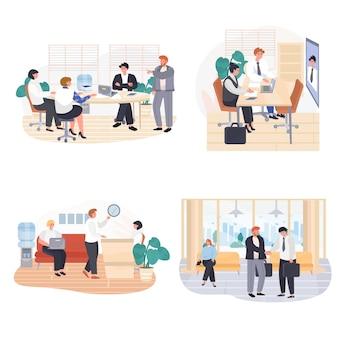 Ensemble de scènes de concept de bureaux d'affaires