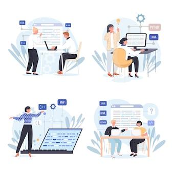 Ensemble de scènes de concept d'entreprise de programmation