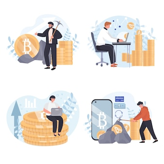 Ensemble de scènes de concept d'extraction de crypto-monnaie