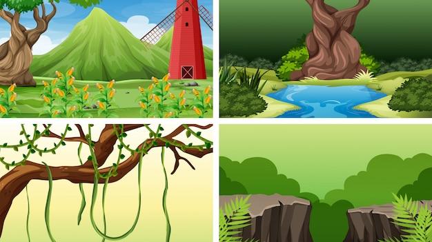 Ensemble de scènes dans un cadre naturel