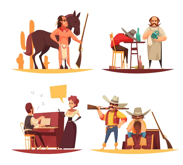 Ensemble de scènes dans l'ouest sauvage avec des indiens et des cow-boys